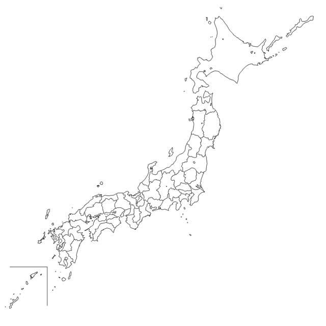 日本 日本の白地図 無料 : 完全無料の日本地図イラスト集 ...
