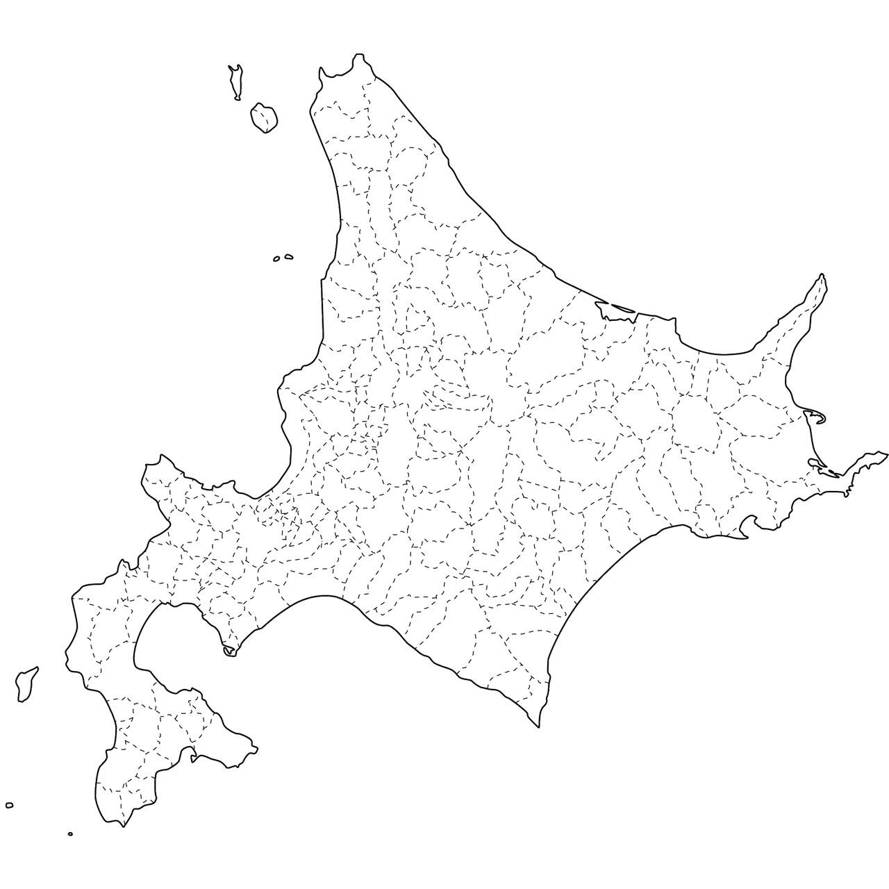地図イラスト見本(縮小表示) : 日本 白地図 地方 : 日本