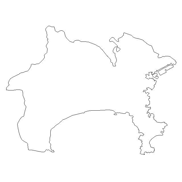 無料の神奈川県地図イラスト ... : 関東地方白地図フリー : 白地図