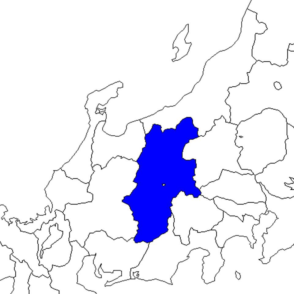 無料の日本地図イラスト集 長野県 中部地方内の位置