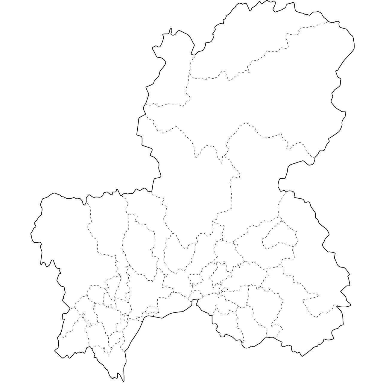 前へ 無料の日本地図イラスト集 - 岐阜県「白地図