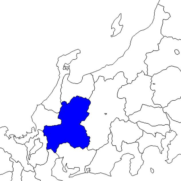 無料の日本地図イラスト集 岐阜県 中部地方内の位置