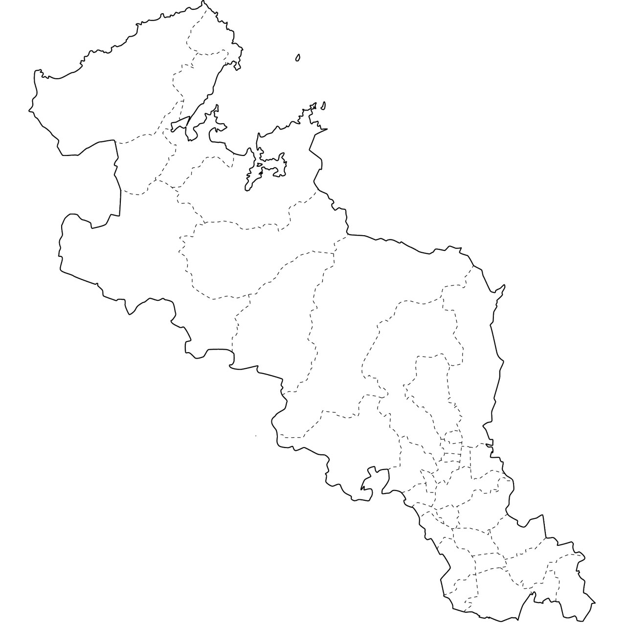 地図イラスト見本(縮小表示) : 中部地方の県 : すべての講義