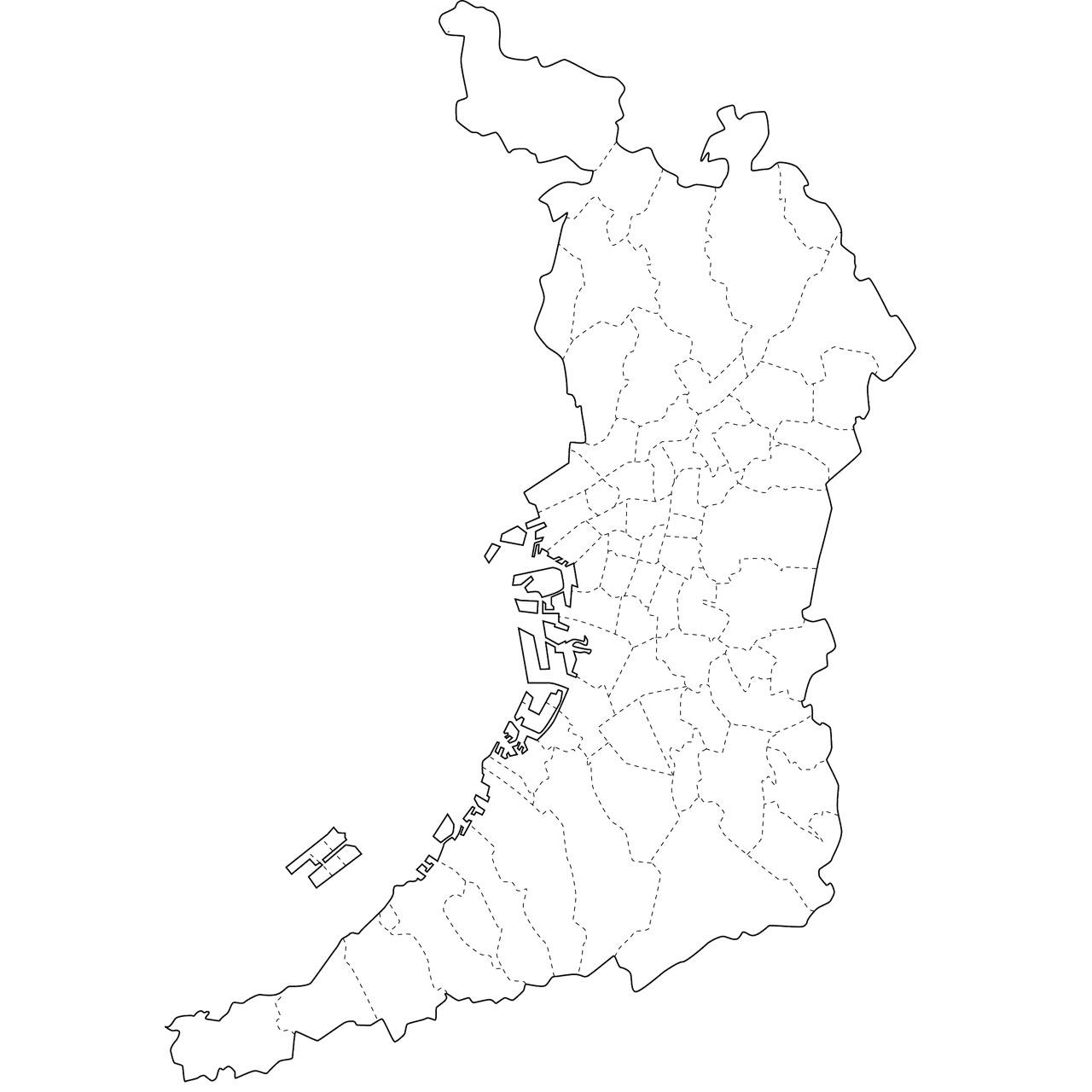 地図イラスト見本(縮小表示) : 東京都 白地図 無料 : 無料