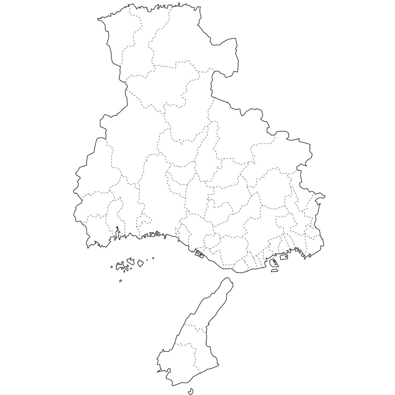 無料の日本地図イラスト集 - 兵庫県「白地図(市町村境も ...