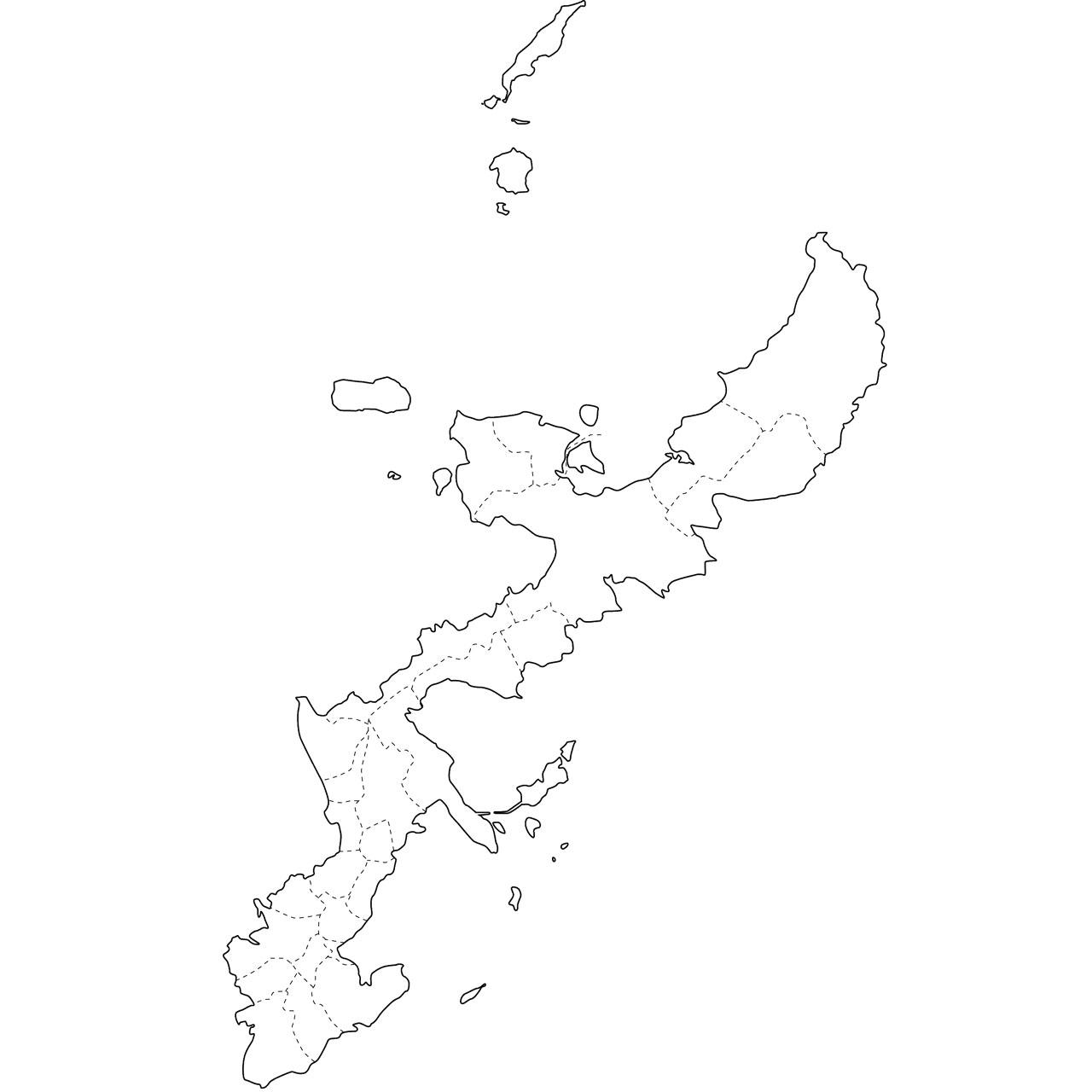 白地図 九州 白地図 フリー : イラスト集 - 沖縄県「白地図 ...