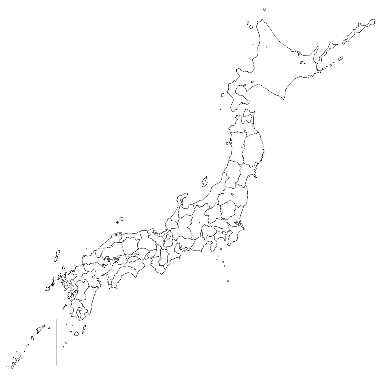 日本地図イラスト集 - 白地図 ...